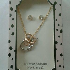 Jewelry - Three Heart Charm Necklace w Earrings
